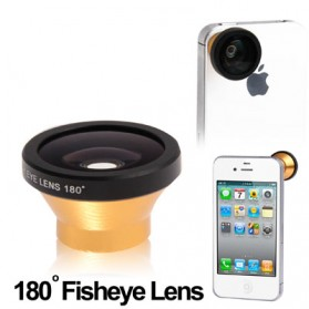 Fisheye Wide Angle Golden Lens 180 Degree for iPhone 4 & 4S / Mobile Phone / Digital Camera (Lens below Dia. 13mm) - Golden