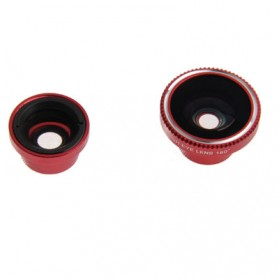 Fisheye Wide Angle Lens 180 Degree + Detachable 0.67X Wide and Macro Lens for iPhone 4 & 4S / Mobile Phone / Digital Camera (Lens below Dia. 13mm) - Red - 2
