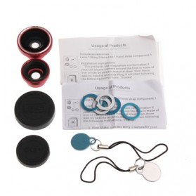 Fisheye Wide Angle Lens 180 Degree + Detachable 0.67X Wide and Macro Lens for iPhone 4 & 4S / Mobile Phone / Digital Camera (Lens below Dia. 13mm) - Red - 5