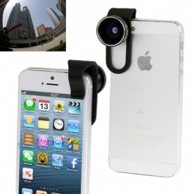 Lensa Kamera / Lensa Fisheye - Clip Fisheye Lens 180 Degree for iPhone 5 - Black