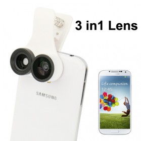 Universal 3 in 1 Lensa Macro Wide Fish Eye untuk Smartphone - White