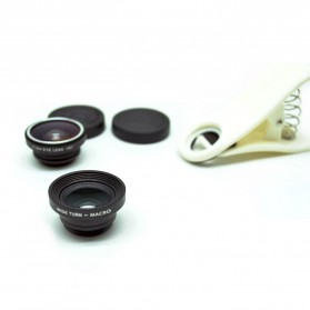 Universal Clip Lens Fisheye 3 in 1 (180 Degree Fisheye Lens + Super Wide Lens + Macro Lens) for Smartphone - White