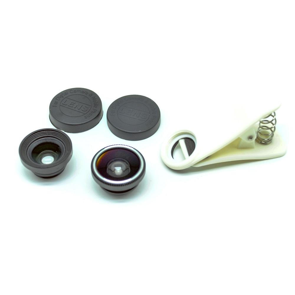 Universal clip lens fisheye 3 in 1 180 degree fisheye for Fish eye lens