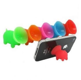 Cute Pig Silicone Mobile Phone Stand Holder - Rose