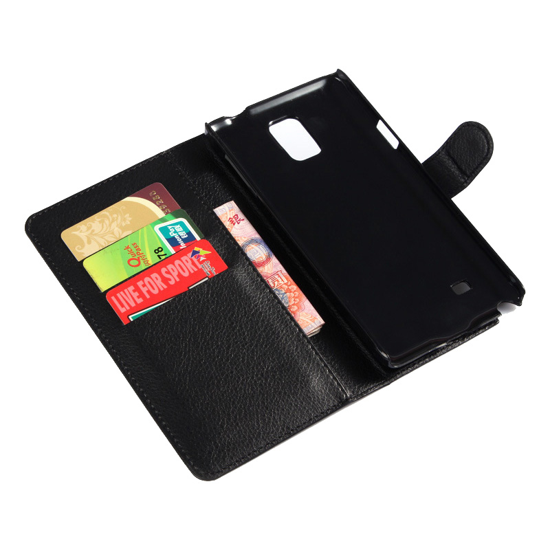 Leather Wallet Case For Samsung Galaxy Note 4 Black