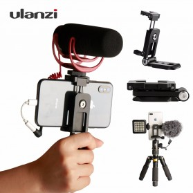 Ulanzi Smartphone Tripod Mount Clipper dengan 2 Cold Shoe - ST-05 - Black - 1