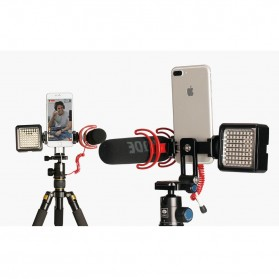 Ulanzi Smartphone Tripod Mount Clipper dengan 2 Cold Shoe - ST-05 - Black - 2