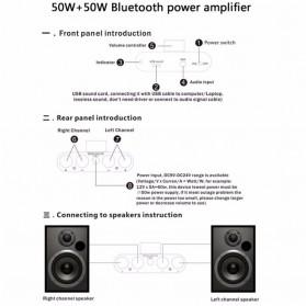 Mogu Audio Bluetooth Receiver Stereo Amplifier 50W+50W - F900 - Golden - 5