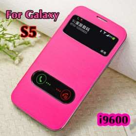 Taff Leather Flip Double Window Case for Samsung Galaxy S5 - Rose