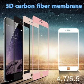 Zilla 3D Carbon Fiber Tempered Glass Curved Edge 9H for iPhone 6 Plus - Black - 6