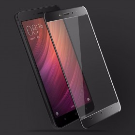 Zilla 3D Carbon Fiber Tempered Glass Curved Edge 9H for Xiaomi Redmi Note 4 Mediatek - White - 3
