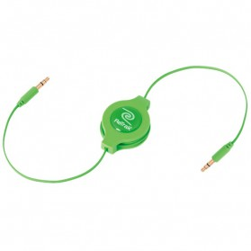 Taff Retractable Aux Cable 3.5mm Headphone Splitter Jack 1.5m - Green