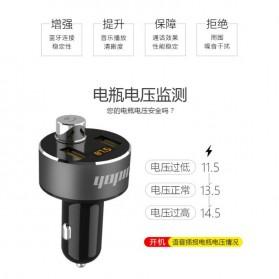 Yopin Bluetooth FM Transmitter Handsfree dengan USB Car Charger 2 Port 3.1A - GC-11 - Black - 3