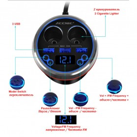 ACCNIC Bluetooth  FM Transmitter USB Car Charger with Remote Control - C1 - Black - 8
