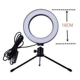 TaffSTUDIO Lampu Halo Ring Light LED Kamera 8W 6 Inch with Mini Tripod - RL-19 - White