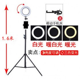 TaffSTUDIO Lampu Halo Ring Light LED Kamera 16CM with Long Tripod 1.6M + Smartphone Holder - EL940008A - White