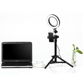 TaffSTUDIO Lampu Halo Ring Light LED Kamera 16CM with Long Tripod 50CM + Smartphone Holder - EL940008A - White - 3