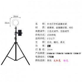 TaffSTUDIO Lampu Halo Ring Light LED Kamera 16CM with Long Tripod 50CM + Smartphone Holder - EL940008A - White - 10