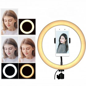 TaffSTUDIO Centechia Lampu Halo Ring Light LED Selfie 128 LED 26cm - RL-20 - Black
