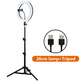 Tycipy Lampu Halo Ring Light LED DSLR Smartphone 120 LED 10 Inch with Tripod - RGX-02 - White - 2