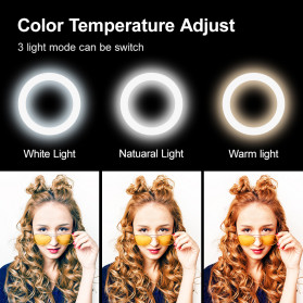 Yizhestudio Lampu Halo Ring Light LED Selfie 6 Inch with Tripod + Clamp - YZ-800 - Black - 5