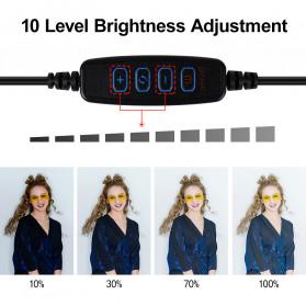 Yizhestudio Lampu Halo Ring Light LED Selfie 6 Inch with Tripod + Clamp - YZ-800 - Black - 6
