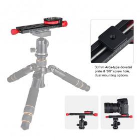 TWISTER Rail Slider Photography Tripod Head 2-Way 115mm - W-160 - Black - 2