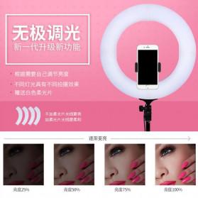 Travor Lampu Halo Ring Light Kamera 448 LED 18 Inch with Smartphone Holder - RL-18 - Pink - 3