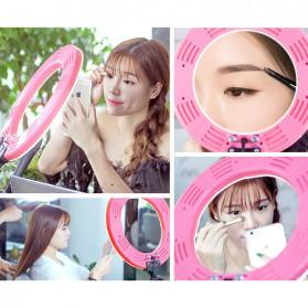 Travor Lampu Halo Ring Light Kamera 448 LED 18 Inch with Smartphone Holder - RL-18 - Pink - 6