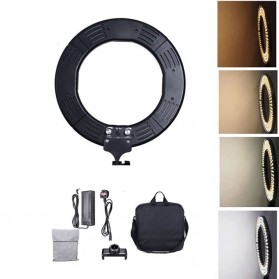 Travor Lampu Halo Ring Light Kamera 448 LED 18 Inch with Smartphone Holder - RL-18 - Black