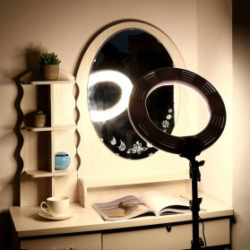 Travor Lampu Halo Ring Light Kamera 448 LED 18 Inch with Smartphone Holder - RL-18 - Black - 3