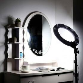 Travor Lampu Halo Ring Light Kamera 448 LED 18 Inch with Smartphone Holder - RL-18 - Black - 5