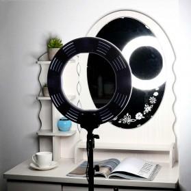 Travor Lampu Halo Ring Light Kamera 448 LED 18 Inch with Smartphone Holder - RL-18 - Black - 6
