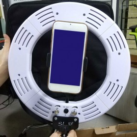 Travor Lampu Halo Ring Light Kamera 448 LED 18 Inch with Smartphone Holder - RL-18 - Black - 9