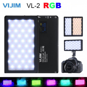 VIJIM Lampu Kamera Foto Video RGB LED with OLED Screen - VL-2 - Black