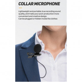 ONLENY Lavalier Video Recording Microphone Clip Portable 3.5mm - MY-M1 - Black - 5