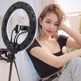 YUNGNUO Lampu Halo Ring Light LED Kamera Wired 252 LED 40W 14 Inch with 3xSmartphone Holder - JY-252A - White - 4