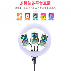 YUNGNUO Lampu Halo Ring Light LED Kamera Wired 252 LED 40W 14 Inch with 3xSmartphone Holder + Tripod 2M - JY-252 - White - 5