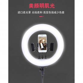 YUNGNUO Lampu Halo Ring Light LED Kamera Wired 252 LED 40W 14 Inch with 3xSmartphone Holder + Tripod 2M - JY-252 - White - 7
