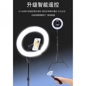 YUNGNUO Lampu Halo Ring Light LED Kamera Wireless 360 LED 40W 14 Inch with 3xSmartphone Holder + Tripod 2M - JY-360B - White - 10