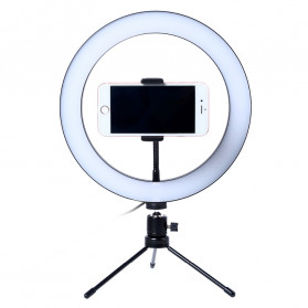 Lacyfans Lampu Halo Ring Light LED Selfie 120 LED 10 Inch with Smartphone Holder + Mini Tripod - RL-128 - Black
