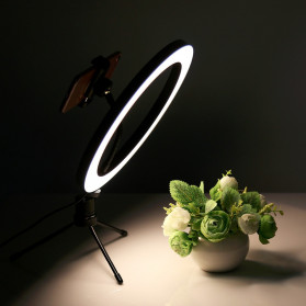 Lacyfans Lampu Halo Ring Light LED Selfie 120 LED 10 Inch with Smartphone Holder + Mini Tripod - RL-128 - Black - 11