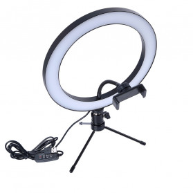 Lacyfans Lampu Halo Ring Light LED Selfie 120 LED 10 Inch with Smartphone Holder + Mini Tripod - RL-128 - Black - 2