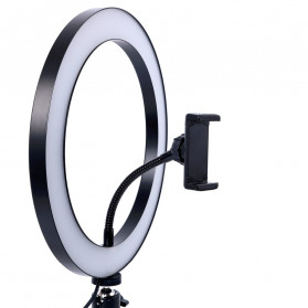 Lacyfans Lampu Halo Ring Light LED Selfie 120 LED 10 Inch with Smartphone Holder + Mini Tripod - RL-128 - Black - 3