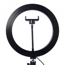 Lacyfans Lampu Halo Ring Light LED Selfie 120 LED 10 Inch with Smartphone Holder + Mini Tripod - RL-128 - Black - 5
