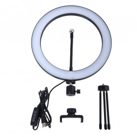 Lacyfans Lampu Halo Ring Light LED Selfie 120 LED 10 Inch with Smartphone Holder + Mini Tripod - RL-128 - Black - 6