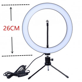 Lacyfans Lampu Halo Ring Light LED Selfie 120 LED 10 Inch with Smartphone Holder + Mini Tripod - RL-128 - Black - 8