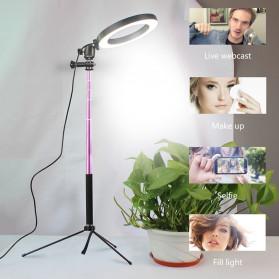 Lacyfans Lampu Halo Ring Light LED Selfie 120 LED 10 Inch with Smartphone Holder + Mini Tripod + Monopod - RL-128 - Black - 8