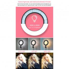 Lacyfans Lampu Halo Ring Light LED Selfie 120 LED 10 Inch with Smartphone Holder + Mini Tripod + Monopod - RL-128 - Black - 9