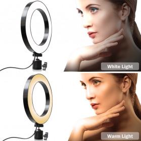 Lacyfans Lampu Halo Ring Light LED Selfie 120 LED 10 Inch with Smartphone Holder + Mini Tripod + Monopod - RL-128 - Black - 10